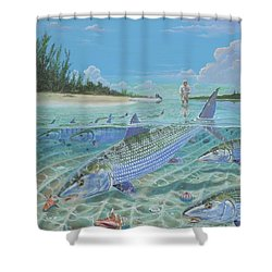 Tailing Bonefish In003 Shower Curtain by Carey Chen