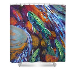Tailwater Take II Shower Curtain by Savlen Art