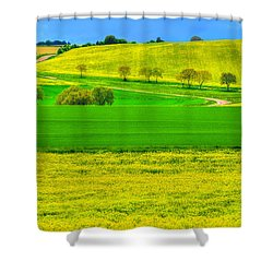 Take Me Home Country Road Shower Curtain by Midori Chan