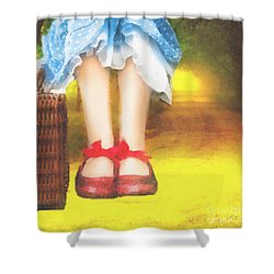 Taking Yellow Path Shower Curtain by Mo T
