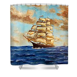 Tall Ship On The South Sea Shower Curtain by Lee Piper