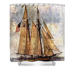 Tall Ships Art Shower Curtain by Dale Kincaid