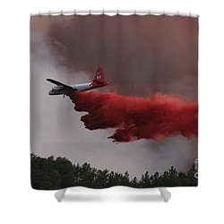 Shower Curtain featuring the photograph Tanker 07 Drops On The Myrtle Fire by Bill Gabbert