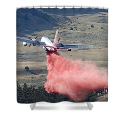 Shower Curtain featuring the photograph Tanker 45 Dropping On Whoopup Fire by Bill Gabbert
