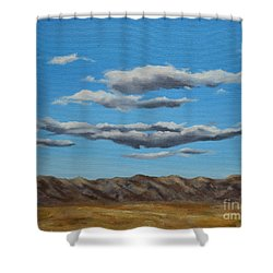Taos Clouds Shower Curtain by Mary Rogers