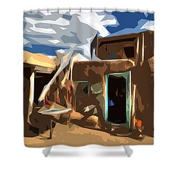 Taos Pueblo Abstract Shower Curtain by K D Graves