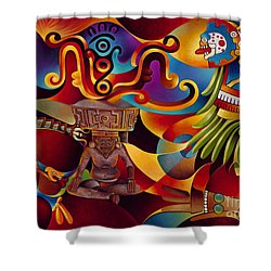 Tapestry Of Gods - Huehueteotl Shower Curtain by Ricardo Chavez-Mendez