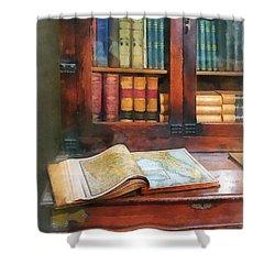 Teacher - Geography Book Shower Curtain by Susan Savad