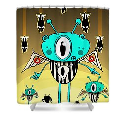 Team Alien Shower Curtain by Johan Lilja