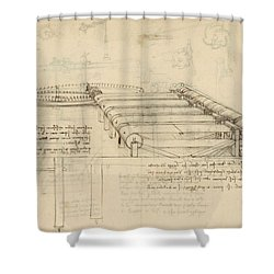 Teaselling Machine To Manufacture Plush Fabric From Atlantic Codex  Shower Curtain by Leonardo Da Vinci