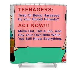 Teenagers Act Now Shower Curtain by Barbara Snyder