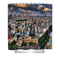 Tel Aviv Lookout Shower Curtain by Ron Shoshani