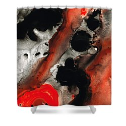 Tempest - Red And Black Painting Shower Curtain by Sharon Cummings