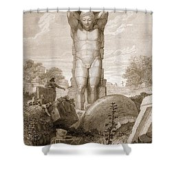 Temple At Agrigentum, Sicily Shower Curtain by Charles Robert Cockerell