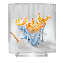 Tempura Prawns Shower Curtain by Amanda Elwell