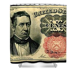 Ten Cents 5th Issue U.s. Fractional Currency Fr 1266 Shower Curtain by Lanjee Chee