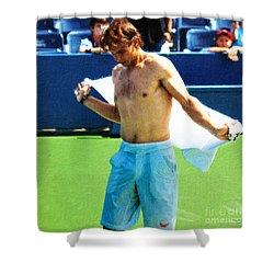 Tennis Champion Rafa Nadal  Shower Curtain by Nishanth Gopinathan