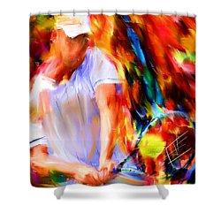 Tennis II Shower Curtain by Lourry Legarde
