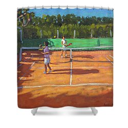 Tennis Practice Shower Curtain by Andrew Macara