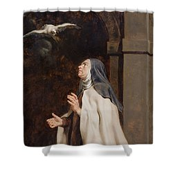 Teresa Of Avilas Vision Of A Dove Shower Curtain by Peter Paul Rubens