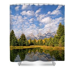 Teton Reflections Shower Curtain by Alex Cassels