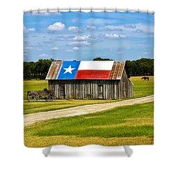 Texas Barn Flag Shower Curtain by Gary Grayson