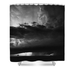 Texas Panhandle Supercell - Black And White Shower Curtain by Jason Politte