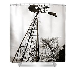 Texas Windmill Shower Curtain by Marilyn Hunt