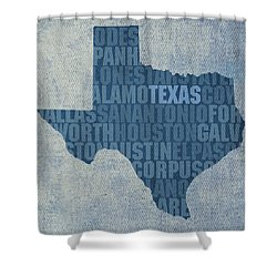 Texas Word Art State Map On Canvas Shower Curtain by Design Turnpike