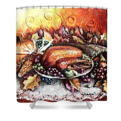 Thanksgiving Dinner Shower Curtain by Shana Rowe Jackson