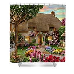 Thatched Cottage Shower Curtain by Adrian Chesterman