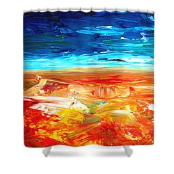 The Abstract Rainbow Beach Series II Shower Curtain by M Bleichner