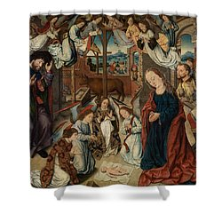 The Adoration Of The Shepherds Shower Curtain by Albrecht Bouts