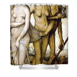 The Ages Of Man And Death Shower Curtain by Hans Baldung