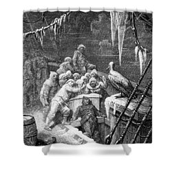 The Albatross Being Fed By The Sailors On The The Ship Marooned In The Frozen Seas Of Antartica Shower Curtain by Gustave Dore