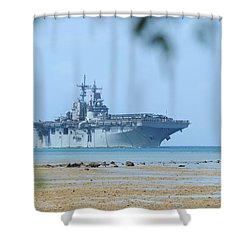 The Amphibious Assault Ship Uss Boxer  Shower Curtain by Paul Fearn