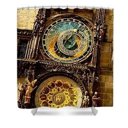 The Ancient Of Clocks Shower Curtain by Ira Shander