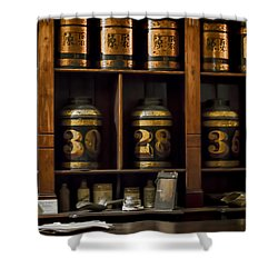 The Apothecary Shower Curtain by Heather Applegate