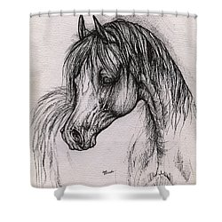 The Arabian Horse With Thick Mane Shower Curtain by Angel  Tarantella