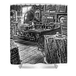 The Back Room Black And White Shower Curtain by Ken Smith