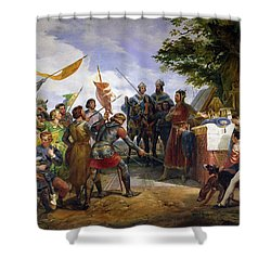 The Battle Of Bouvines Shower Curtain by Emile Jean Horace Vernet