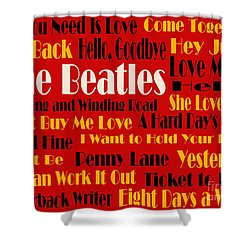 The Beatles 20 Classic Rock Songs 2 Shower Curtain by Andee Design