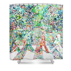 The Beatles Abbey Road Watercolor Painting Shower Curtain by Fabrizio Cassetta