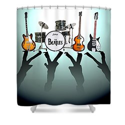 The Beatles Shower Curtain by Lena Day