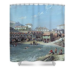 The Beginning Of Sea Swimming In The Old Port Of Biarritz  Shower Curtain by Jean Jacques Alban de Lesgallery