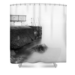 The Bench And The Fog Shower Curtain by Erik Brede