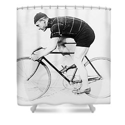 The Bicyclist - 1914 Shower Curtain by Daniel Hagerman