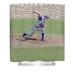The Big Baseball Pitch Digital Art Shower Curtain by Thomas Woolworth