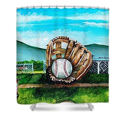 The Big Leagues Shower Curtain by Shana Rowe Jackson