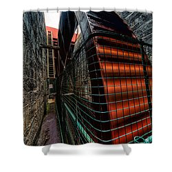 The Big Wheel Shower Curtain by Adrian Evans